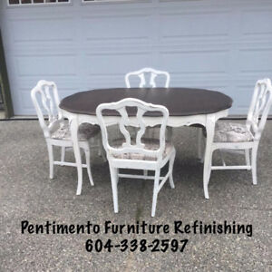 Mid Century French Provincial Solid Cherry Dining Set