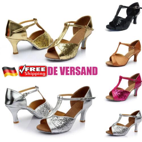 7fe37824f605bb DE Damen Pfennig High Heels Latin Tango Tanzschuhe Ballsaal Dance Sandalen  Schuh