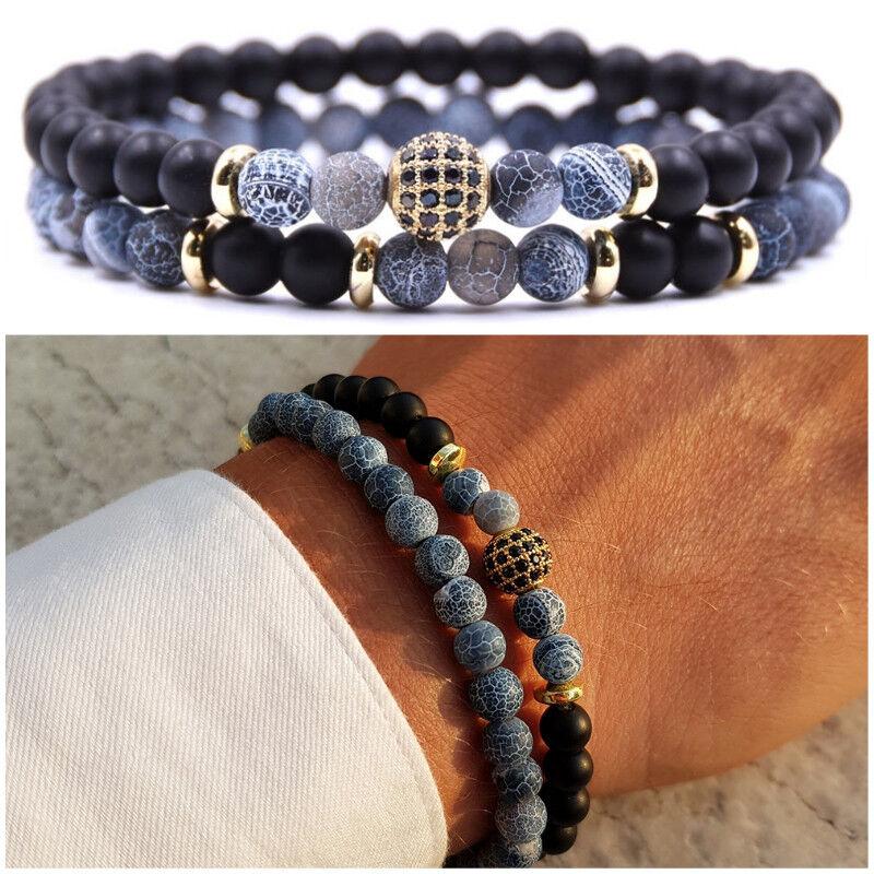 Bracciale uomo pietre set braccialetti in pietra agata con onice oro blu da nero