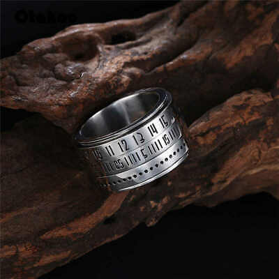 Otakoo Stainless steel gear ring for women men spin rotating numbers wide ring - Spinning Gear Ring