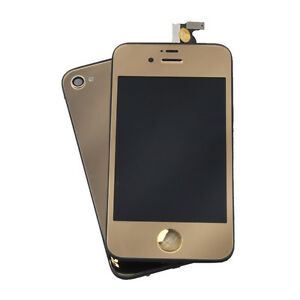Gold Mirror LCD Touch Screen Digitizer Full Assembly For iPhone 4S Replacement