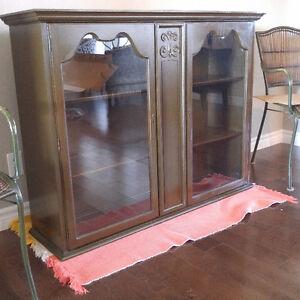 Solid Wood and Glass Cabinet - $100 OBO Kitchener / Waterloo Kitchener Area image 1