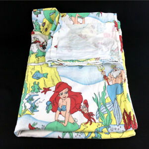The Little Mermaid Bed Sheet Twin Flat Vintage 90s Disney White