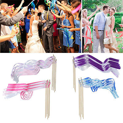 Ribbon Wands Wedding (10x Colorful Twirling Streamers Wedding Favor Ribbon Sticks/Wands for Party)