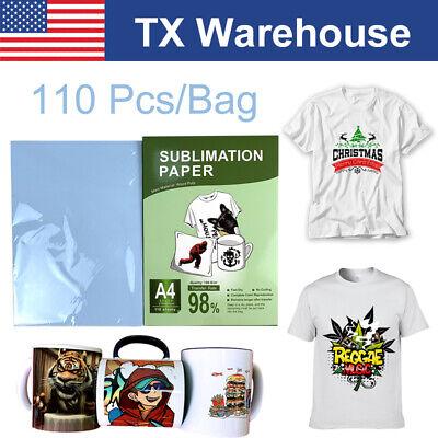 110 Sheets 8.5x11 A4 Dye Sublimation Paper Heat Transfer For Inkjet T-shirt Mug