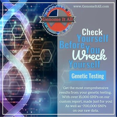 GenomeItAll Genetic test with raw data and extensive custom report. Private DNA