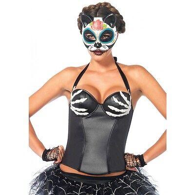 Sexy Bony Hands Wet Look Underwire Skeleton Corset Halloween Costume Sugar Skull](Sugar Skull Halloween Look)