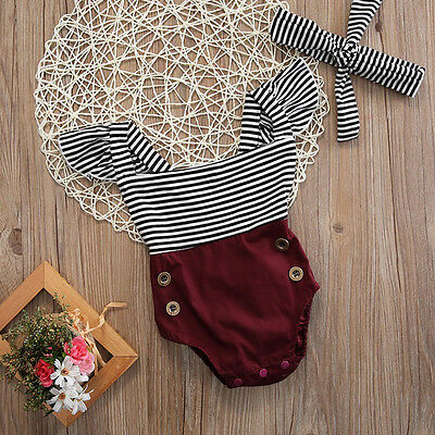 US Newborn Kids Baby Girl Cute Romper Jumpsuit Bodysuit+Headband Clothes Outfits Baby Girl Bodysuit