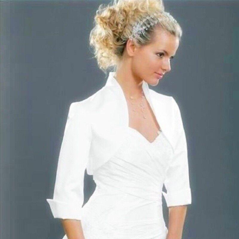 New Women Red Wedding Prom Satin Bolero Shrug Jacket Size UK S M L XL XXL