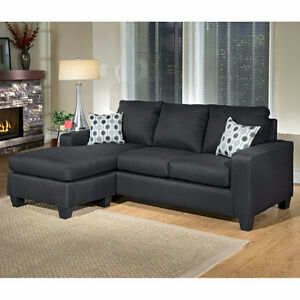 BEAUTIFUL LEATHERETTE SOFA WITH REVERSIBLE CHAISE ON CLEARANCE