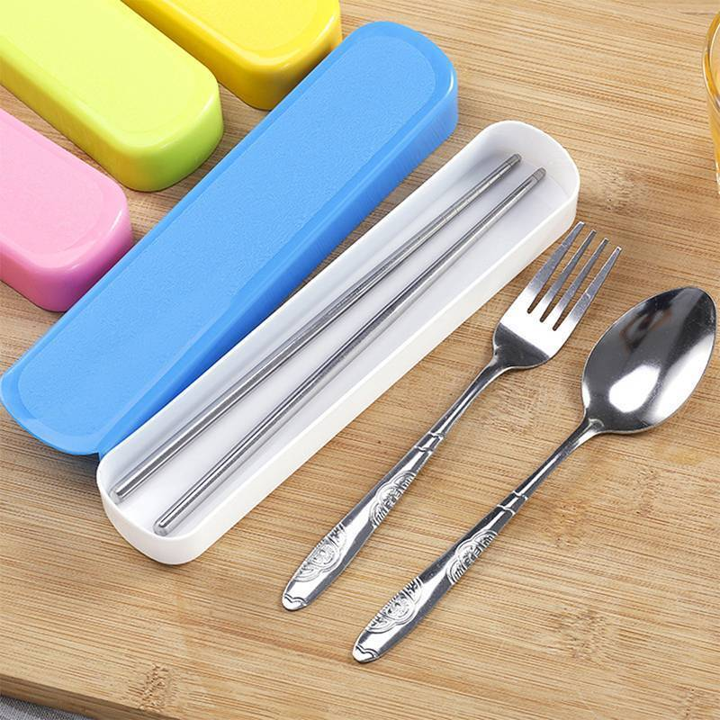 3 Pcs Set Stainless Steel Cutlery Chopsticks Spoon Fork Portable Travel lunch