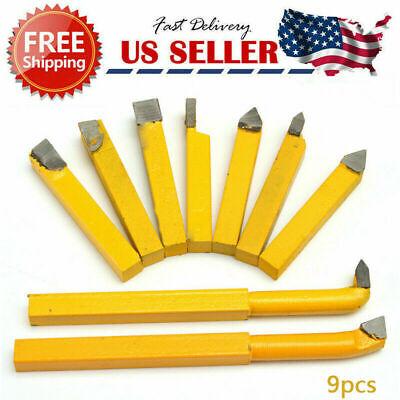 9pcs 14carbide Tipped Tip Lathe Metal Cutter Bit Milling Cutting Turning Tools