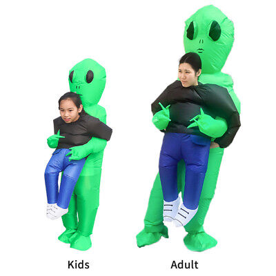 Adult/kid Green Alien Inflatable Blow Up Suits Party Dress Scary Costumes - Adult Alien Costumes