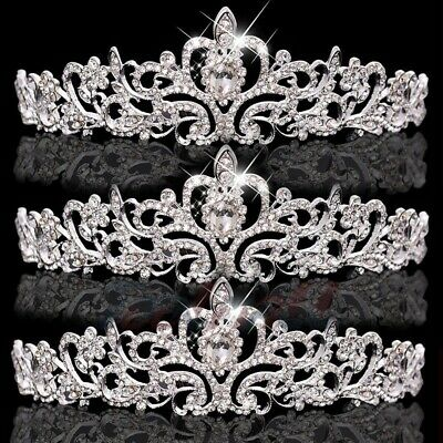 Bulk Tiaras (3x Wedding Bridal Crystal Tiara Crowns Princess Queen Heart Flower Silver)
