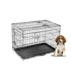 30; 36; 42 Dog Pet Cage Kennel Cat Collapsible Metal Crate Tray