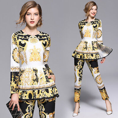2019 Spring Summer Fall 2pcs Women Sets Printed Shirt Blouse Pants Suits Outfits - Suits Outfits