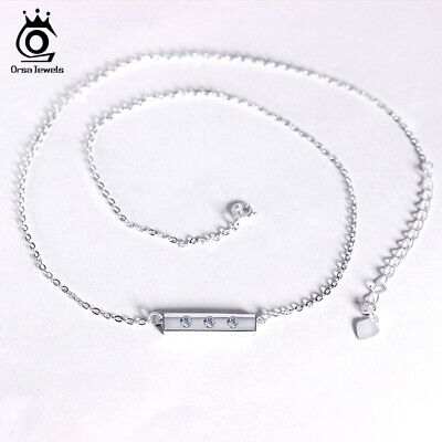 Bar Pendant Necklace S925 Silver Cubic Zirconia Chain Girls Beauty Jewelry Gift ()