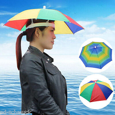 Kopfschirm Regenschirm Hut Mütze Sonnen Shutz Kopfbedeckung Outdoor Caming 55CM