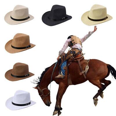 Men Stylish Black Summer Fashion Cowboy Straw Hat Headwear Cap Stylish Straw Cowboy Hat