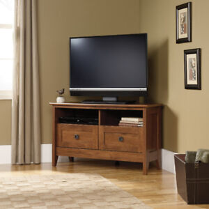 Corner TV Stand - Oiled Oak finish. (Scratch & Dent)