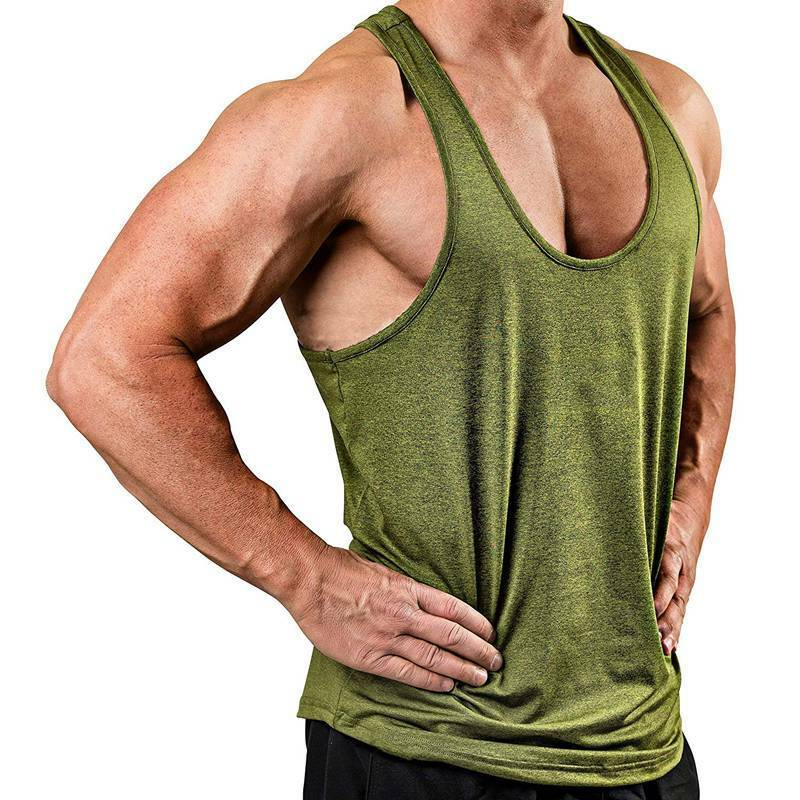 Men Sleeveless Workout Tank Top Bodybuilding Gym Muscle Fitness Plain T-Shirt Clothing, Shoes & Accessories