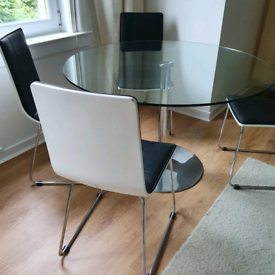 Glass dining table and set of 4 chairs GOOD CONDITION