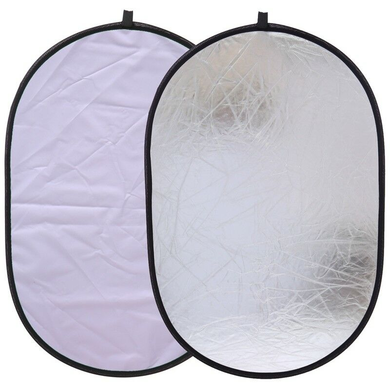 2 in 1 55-60cm Light Mulit Reflector Portable Collapsible Disc Photography Reflector for Portrait Photography Silver//White