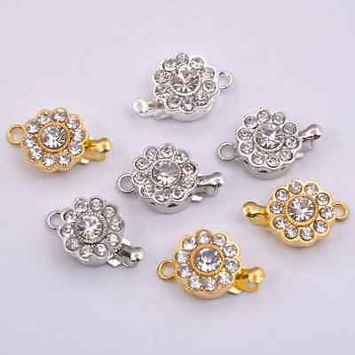 2-10Sets Crystal Rhinestone Flower Connector Box Clasp For Bracelets Necklace