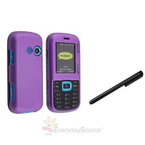 Dark Purple Rubber Coated Hard Case For Verizon LG Cosmos VN250 +Black Stylus