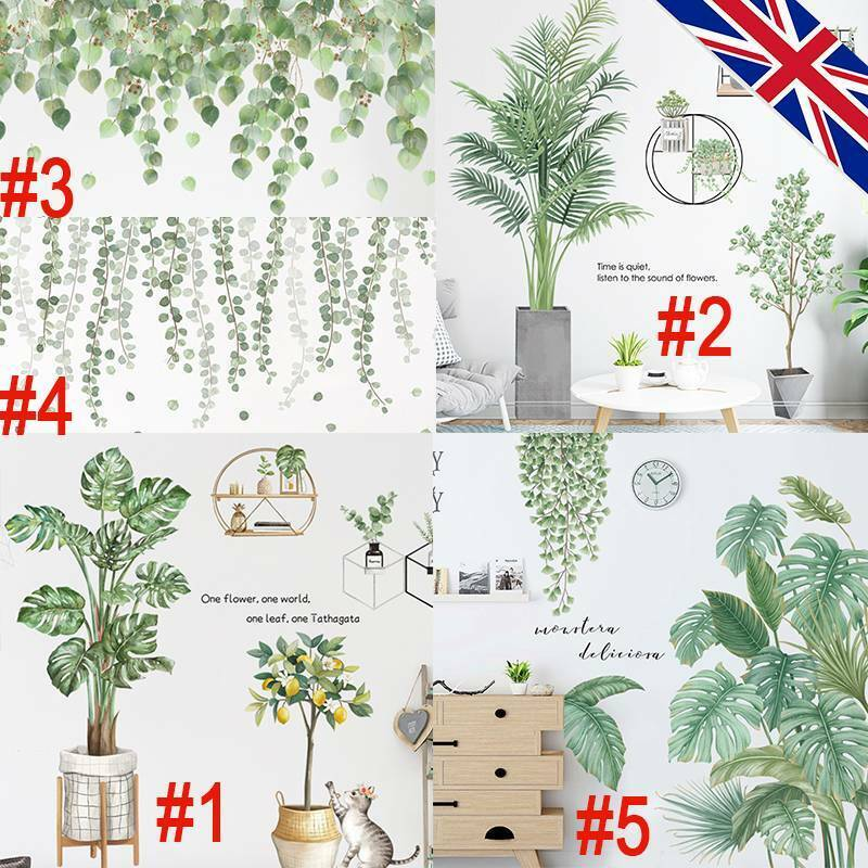 Home Decoration - Tropical Leaves Green Plant Wall Stickers PVC Decal Nursery Art Mural Home Decor
