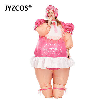 Baby Doll Dress Inflatable Costume Adult Blow Up Suit Party Carnival Outfit Men