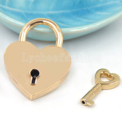 Heart Lock Key - 1Pc Gold Heart Love Lock Mini Archaize Padlock with Key Handbag Luggage Lock