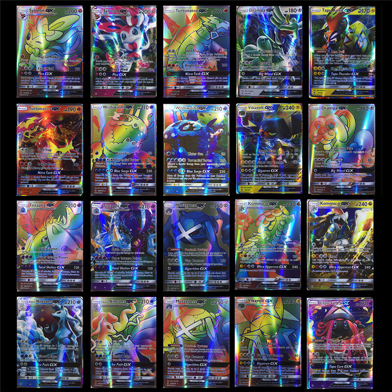 70Pcs/set All Holo Flash Card Pokemon Sun&Moon 69GX