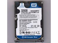 320gb Western Digital Scorpio Blue Sata Laptop Hard Drive