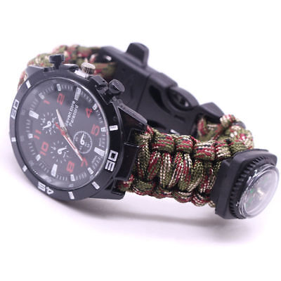 Multi-fun Camouflage Paracord Survival Compass Bracelet Fire Whistle Watch