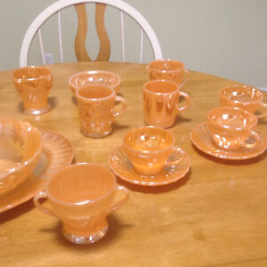 Vintage Fire King Peach Luster Dishes.