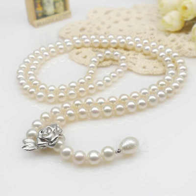 Real fashionable pearl grade AAA 8-9mm drip single necklace best gift 24