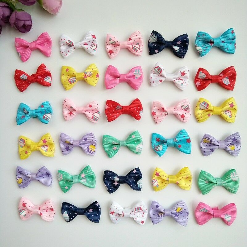 "10pcs 1.4"" Tiny Hair Bows Alligator Clips Barrettes for Baby"
