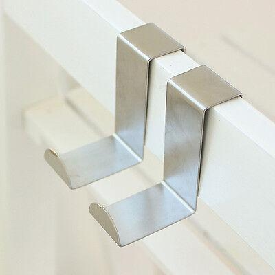2x Stainless Steel Over the Door Hook Home Kitchen Single Towel Hanger Holder