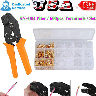 Us Sn-48b 0.5-1.5mm Ratchet Crimp Plier Tool600pcs Female Spade Terminalsset