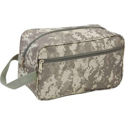 "New 11"" Green CAMO TRAVEL Water Resistant TOILETRIES BAG Mens Toiletry Shave Kit"