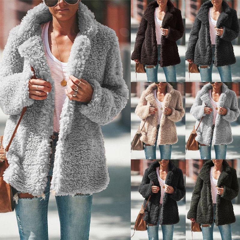 Damen Warme Winterjacke Teddyfell Mantel Fleece Jacke Parka Outwear  Teddyjacke df41d9d2e2