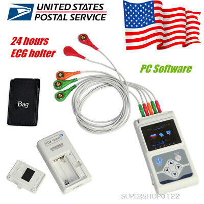 Usa Portable Ecg Holter 3 Leads 24 Hour Recorder Dynamic Ecg Systemspc Software