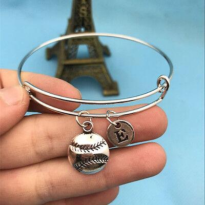 Baseball Charm Initial Letter Adjustable Expandable Personalized  Bracelets