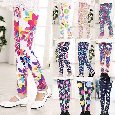 10 Styles Kids Girl Baby Leggings Flower Floral Printed Pants Trousers 1-12Y Hot - Hot Girl Leggings