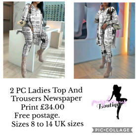 2 PC Ladies Top And Trousers Newspaper Print