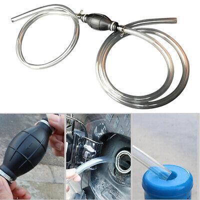 Gasoline Siphone Hose Hand Siphon Pump Petrol Water Oil Liquid Fuel Transfer
