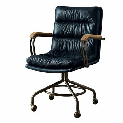 - ACME Hedia Leather Swivel Office Chair in Vintage Blue