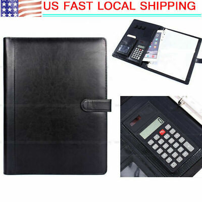 A4 Leather Conference Folder Calculator Portfolio Ring Binder Organiser Usa
