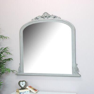 Grande Gris Overmantel Espejo de Pared Vintage Francés Shabby Chic Cuarto Estar
